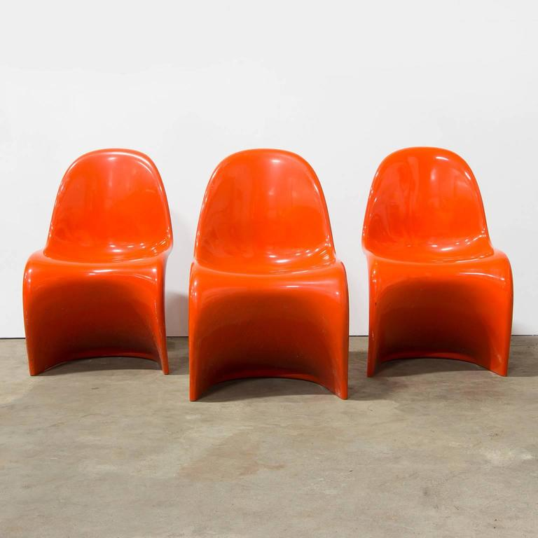 1965, Verner Panton Stacking Chair First Herman Miller Edition, In Orange  In Good Condition