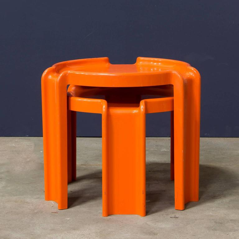 1968 Giotto Stoppino For Kartell Two Orange Plastic Nesting Tables At 1stdibs