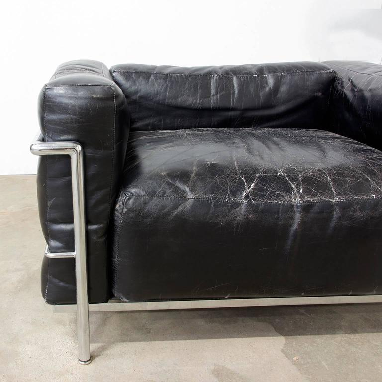 Early 20th Century Le Corbusier, Very Early LC Three by Cassina in Chrome in Black Patin Leather For Sale
