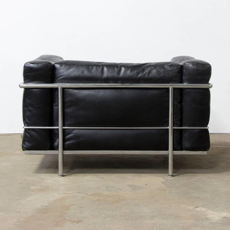 French Le Corbusier, Very Early LC Three by Cassina in Chrome in Black Patin Leather For Sale