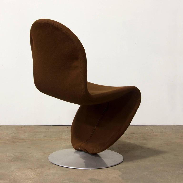 1973 verner panton 1 2 3 series dining chair in brown fabric for sale at 1stdibs. Black Bedroom Furniture Sets. Home Design Ideas