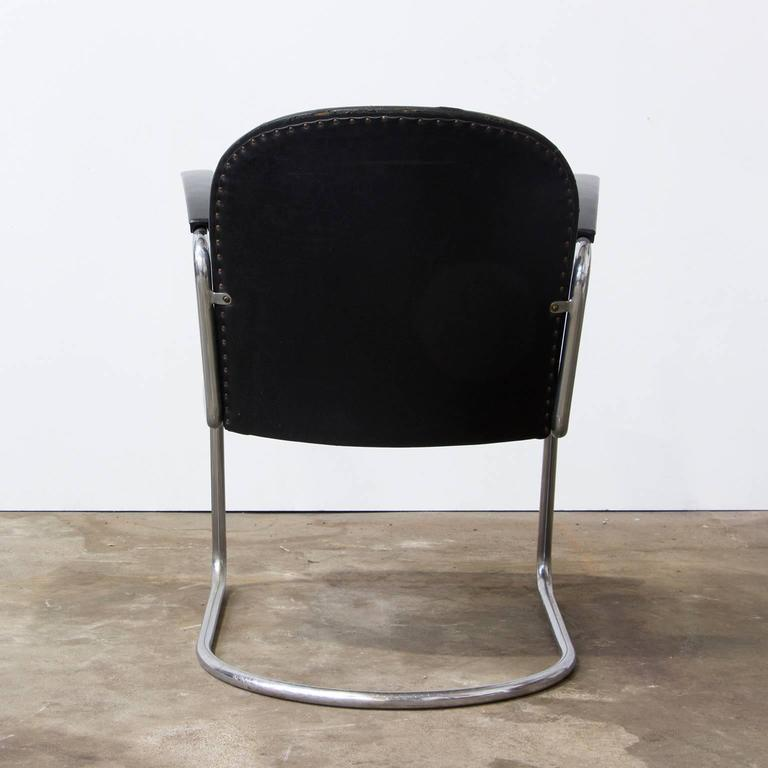 Dutch 1935, W.H. Gispen, by Gispen Culemborg, 413 Easy Chair in Original Black Vinyl For Sale