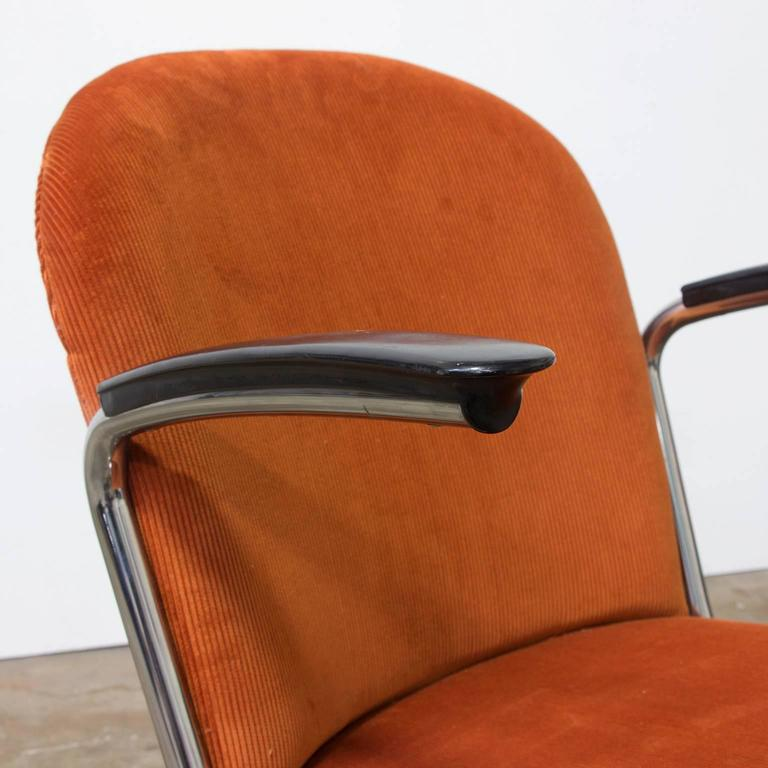 Metal 1935, W.H. Gispen by Gispen Culemborg, 413 Easy Chair in Terra Corduroi Fabric For Sale