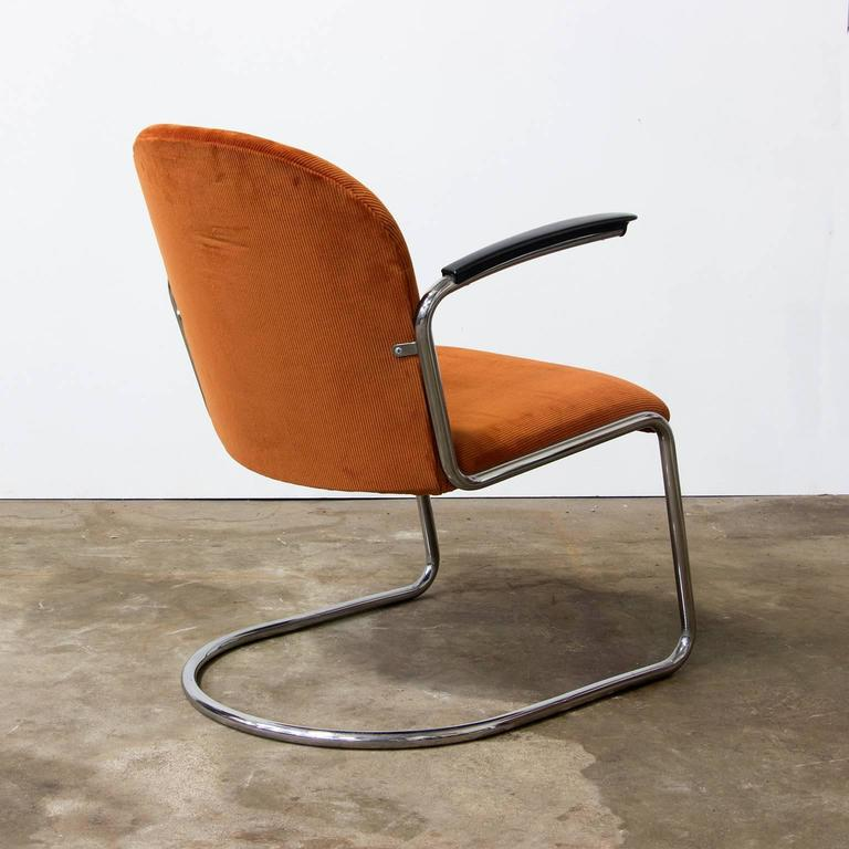 Bauhaus 1935, W.H. Gispen by Gispen Culemborg, 413 Easy Chair in Terra Corduroi Fabric For Sale