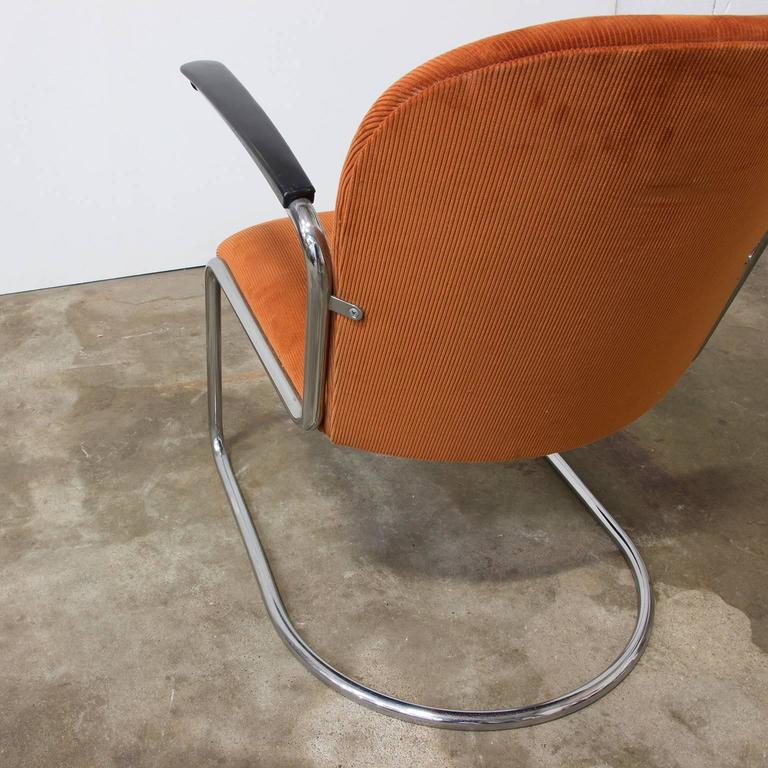 Mid-20th Century 1935, W.H. Gispen by Gispen Culemborg, 413 Easy Chair in Terra Corduroi Fabric For Sale