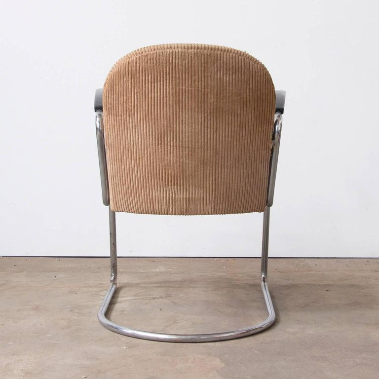 Dutch 1935, W.H. Gispen by Gispen Culemborg, 413 Easy Chair in Original Corduroi Fabri For Sale