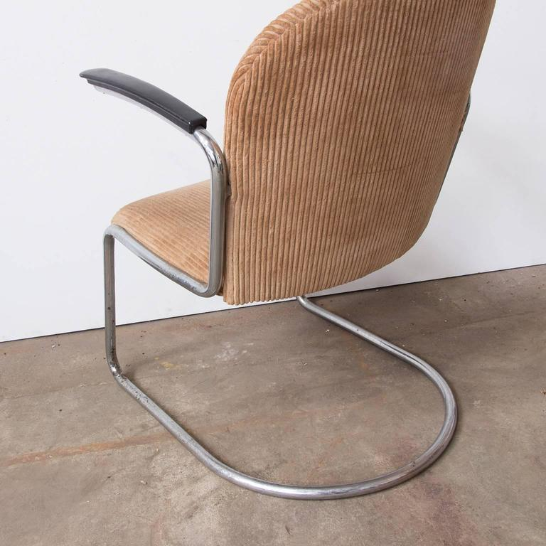 Mid-20th Century 1935, W.H. Gispen by Gispen Culemborg, 413 Easy Chair in Original Corduroi Fabri For Sale