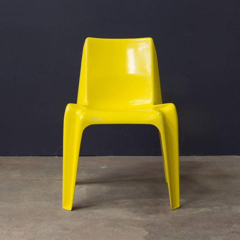 Rare Plastic Organic Chair In Yellow Circa 1970 For Sale