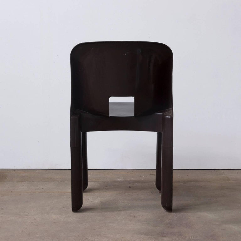 Italian 1967 Joe Colombo, Universale Plastic Chair, Type 4867 in Chocolate Brown For Sale