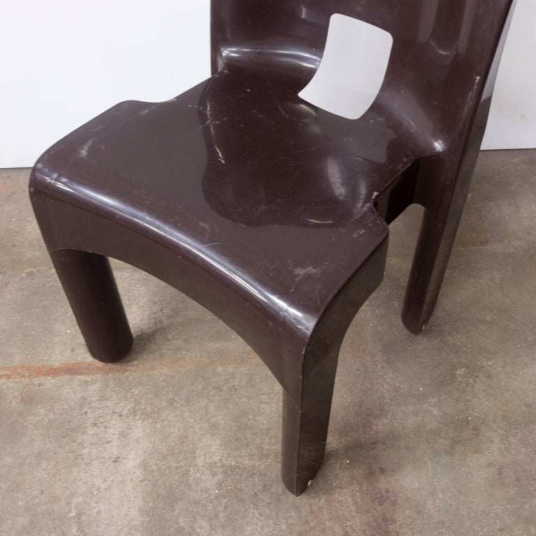 Mid-20th Century 1967 Joe Colombo, Universale Plastic Chair, Type 4867 in Chocolate Brown For Sale