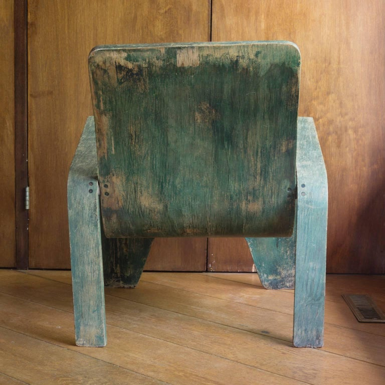 Dutch 1940, Han Pieck, Plywood Lounge Armchair for Lawo in Green as Published on Book For Sale