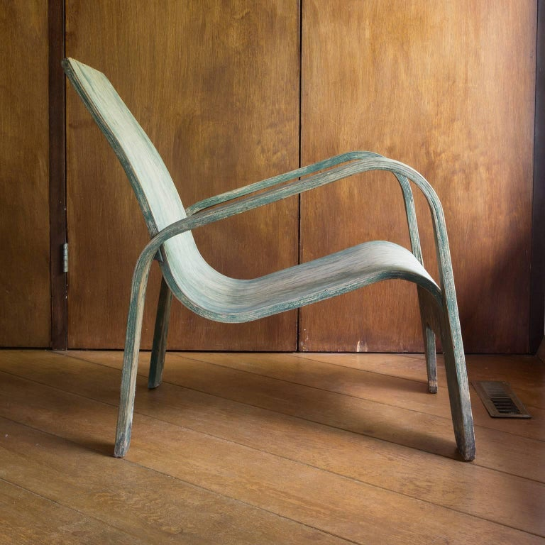 Mid-Century Modern 1940, Han Pieck, Plywood Lounge Armchair for Lawo in Green as Published on Book For Sale