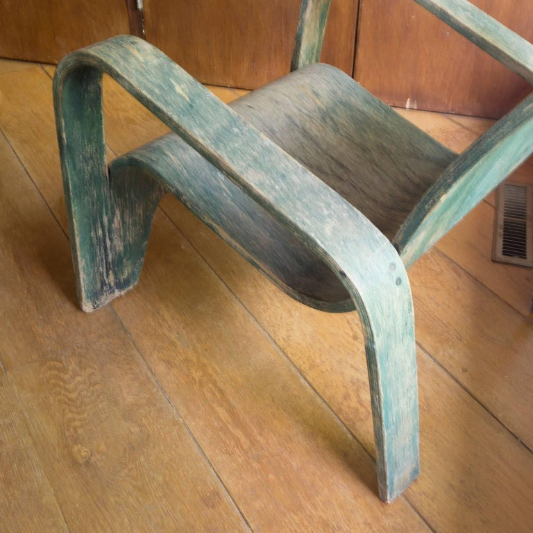 Mid-20th Century 1940, Han Pieck, Plywood Lounge Armchair for Lawo in Green as Published on Book For Sale