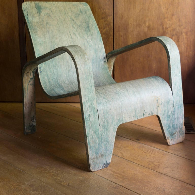 1940, Han Pieck, Plywood Lounge Armchair for Lawo in Green as Published on Book For Sale 1
