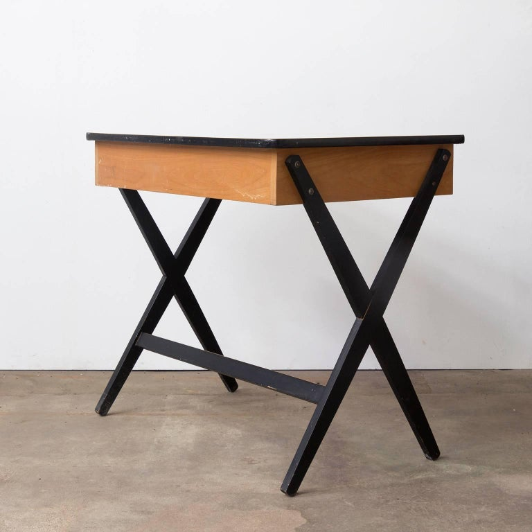 Mid-Century Modern 1954, Coen de Vries for Devo Wooden Writing Desk with Red Drawer and Formica Top For Sale