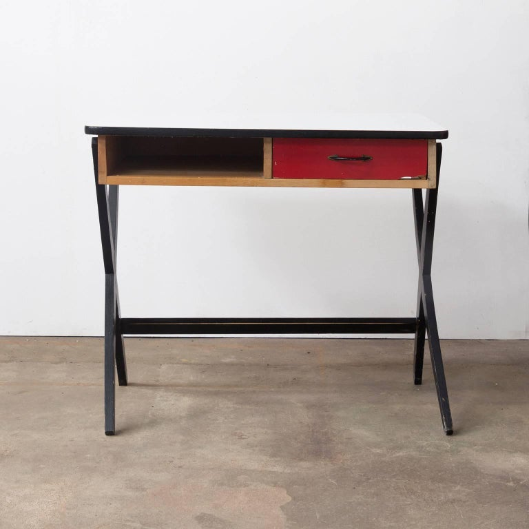 1954, Coen de Vries for Devo Wooden Writing Desk with Red Drawer and Formica Top 6