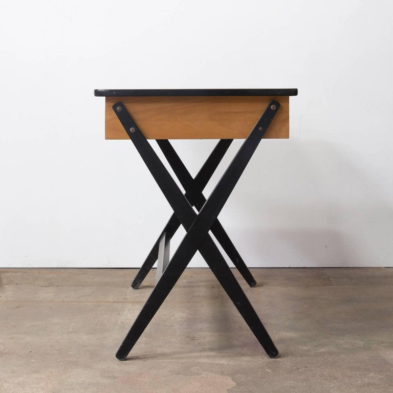 Dutch 1954, Coen de Vries for Devo Wooden Writing Desk with Red Drawer and Formica Top For Sale