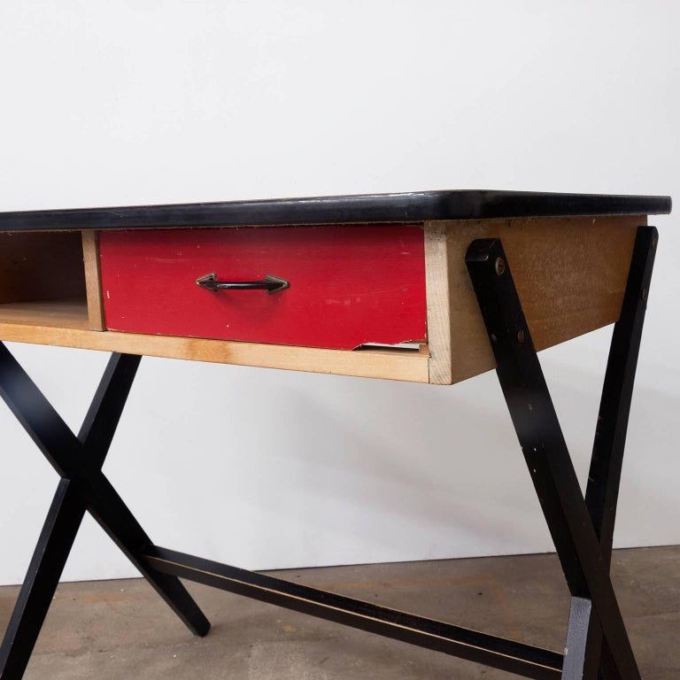 1954, Coen de Vries for Devo Wooden Writing Desk with Red Drawer and Formica Top For Sale 1