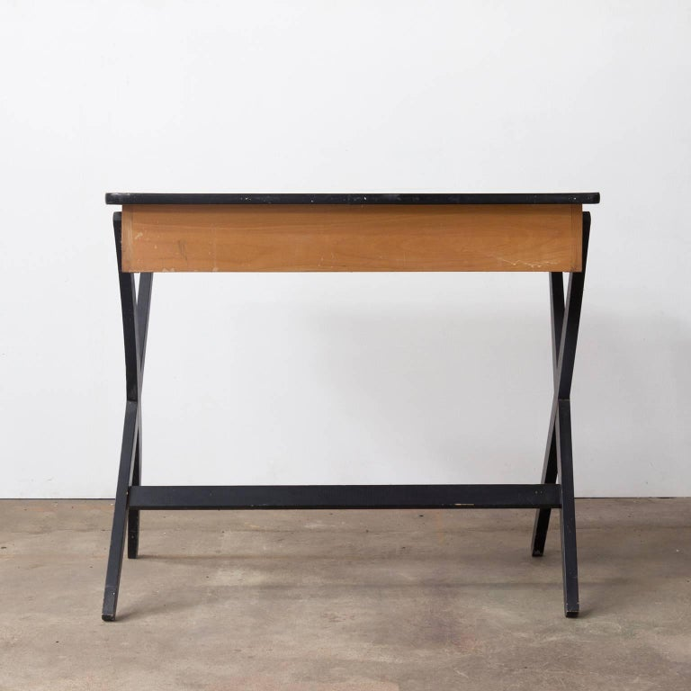 1954, Coen de Vries for Devo Wooden Writing Desk with Red Drawer and Formica Top In Good Condition For Sale In Amsterdam, North Holland