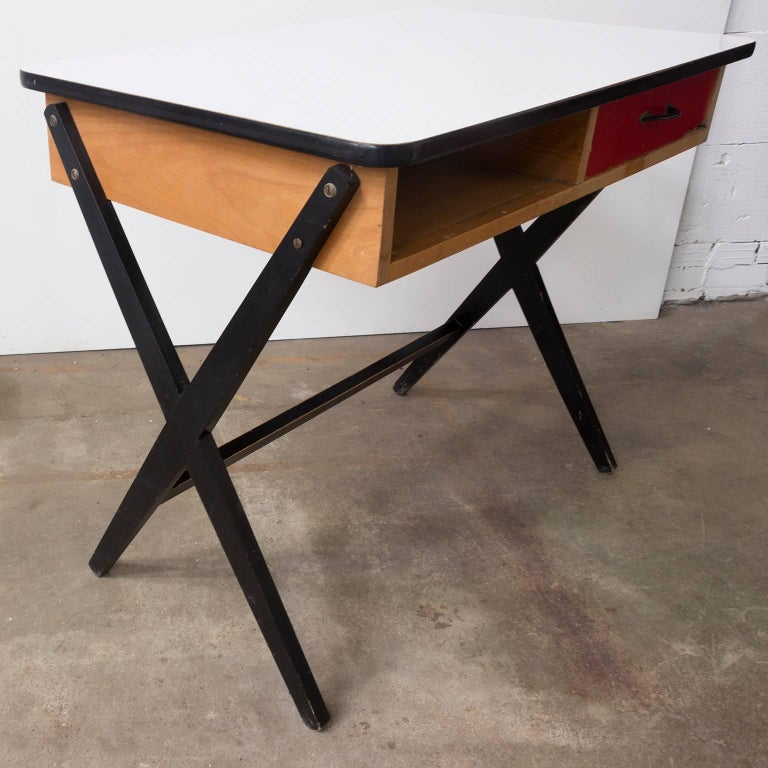 1954, Coen de Vries for Devo Wooden Writing Desk with Red Drawer and Formica Top For Sale 3