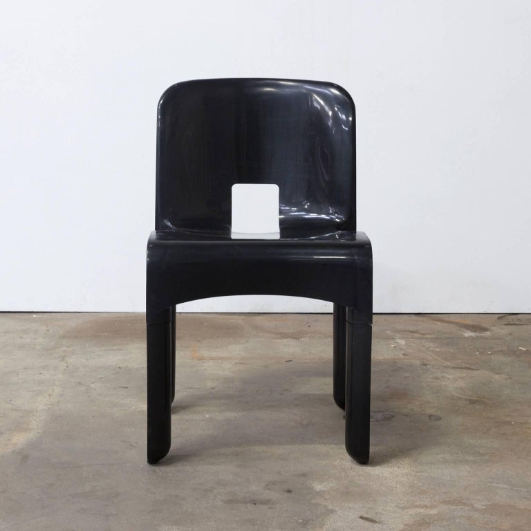 Mid-20th Century 1967, Joe Colombo, Universale Plastic Chair, Type 4867, Seven Pieces in Black For Sale