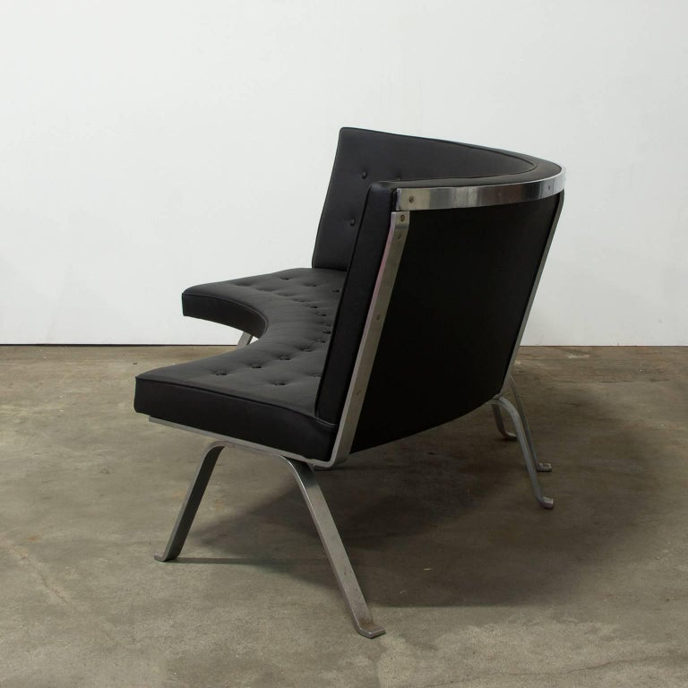 Kj rholm inspired curval basic couch in black faux leather circa 1960 for sale at 1stdibs - Sofa zitplaatsen zwarte ...