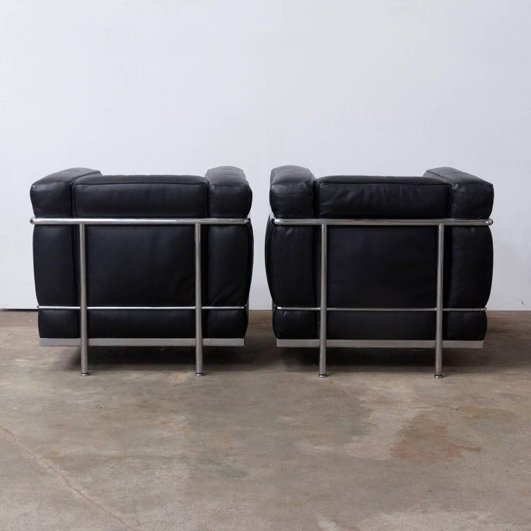 1928, Le Corbusier, LC2 Easy Chair Black Leather by Cassina