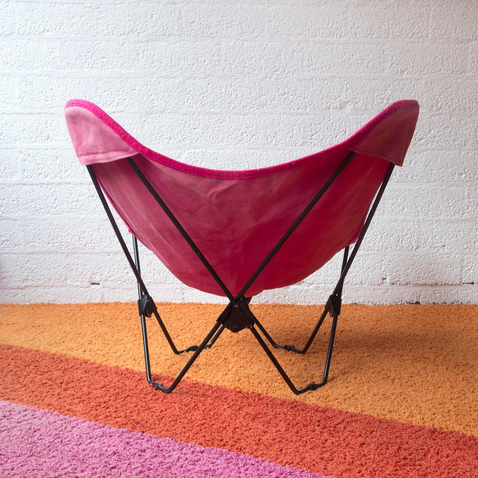 Egg Chair Roze.1960 Hardoy Ferrari Black Foldable Children Butterfly Chair