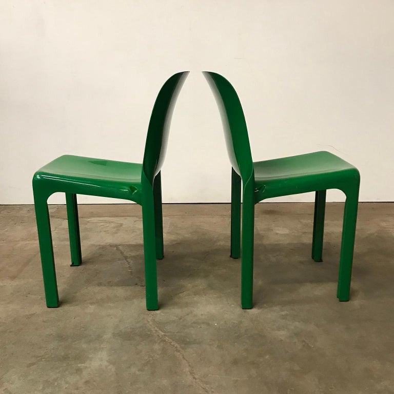 Mid-Century Modern 1969, Vico Magistretti for Artemide, Set of Four Green Selene Chairs For Sale