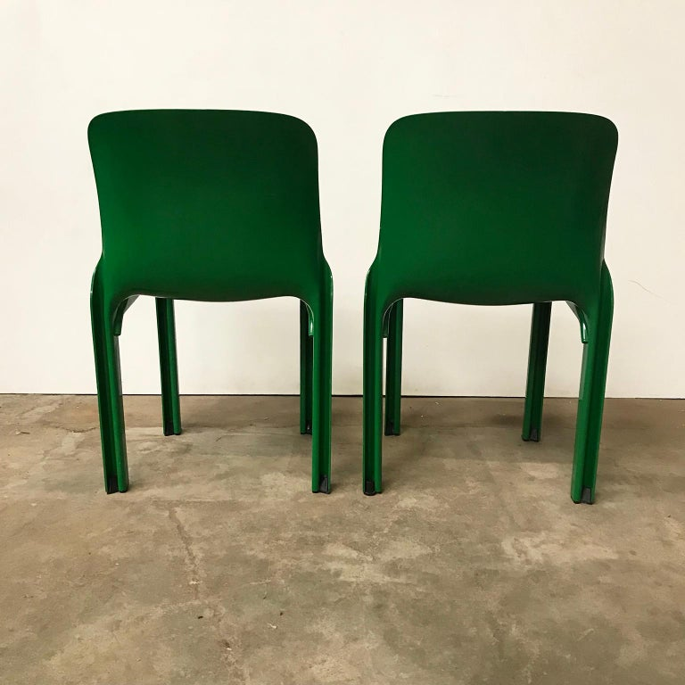 Mid-20th Century 1969, Vico Magistretti for Artemide, Set of Four Green Selene Chairs For Sale