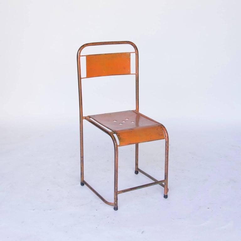 1935, Rare French Industrial Design, Pretty Light, Metal Stacking Chairs In  Good Condition