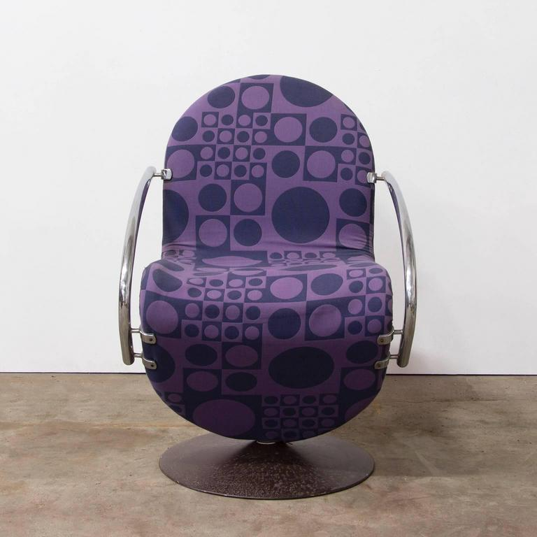 1973, Verner Panton for Rosenthal, Side Chair Including Original Panton Fabric In Good Condition For Sale In Amsterdam, North Holland