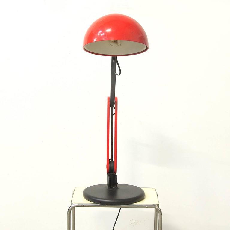 Circa 1970 Guzzini Red And Black Desk Lamp With Heavy