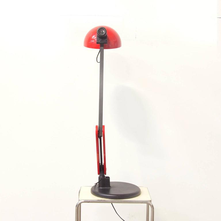 Circa 1970 Guzzini Red And Black Desk Lamp With Heavy