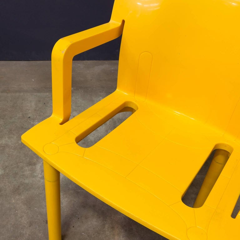 Late 20th Century 1986, Anna Castelli Ferreri for Kartell, Model 4870, Rare in Yellow with Arms For Sale