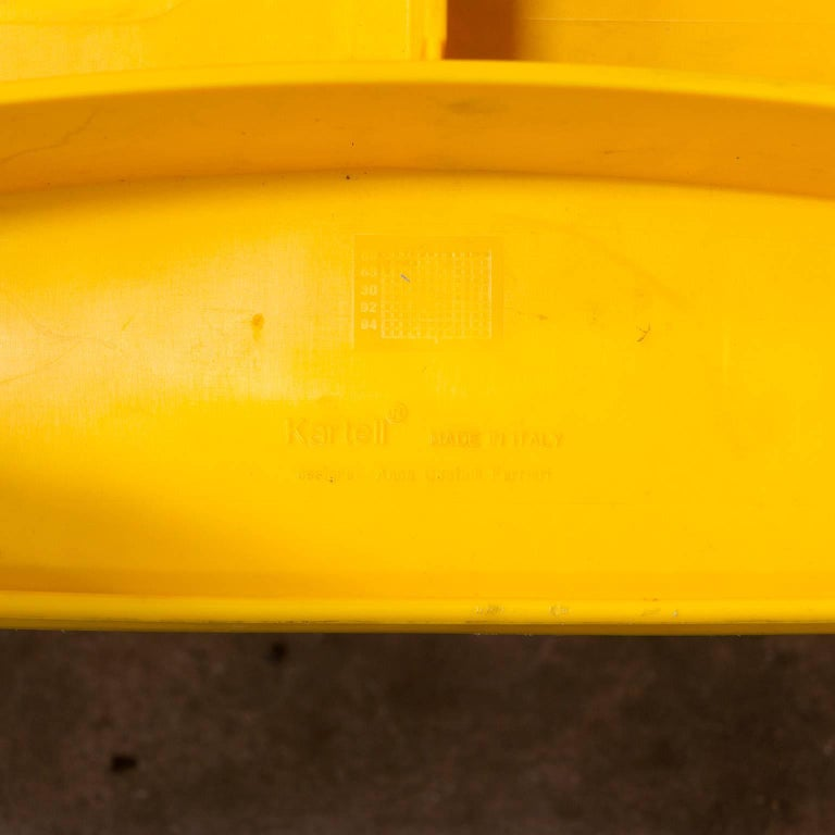 1986, Anna Castelli Ferreri for Kartell, Model 4870, Rare in Yellow with Arms For Sale 1