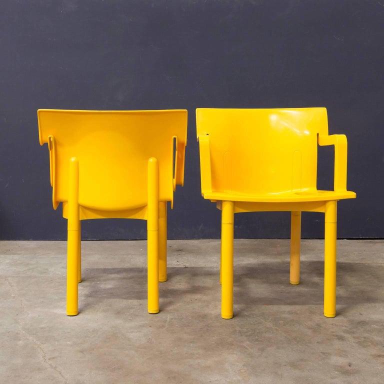 Design Stoelen Kartell.1986 Anna Castelli Ferreri For Kartell Model 4870 Rare In Yellow With Arms