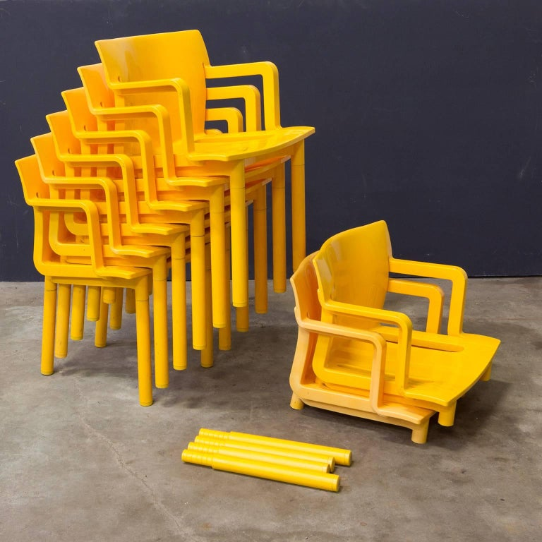 1986, Anna Castelli Ferreri for Kartell, Model 4870, Rare in Yellow with Arms For Sale 2