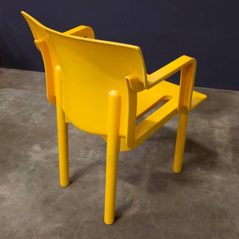 Plastic 1986, Anna Castelli Ferreri for Kartell, Model 4870, Rare in Yellow with Arms For Sale