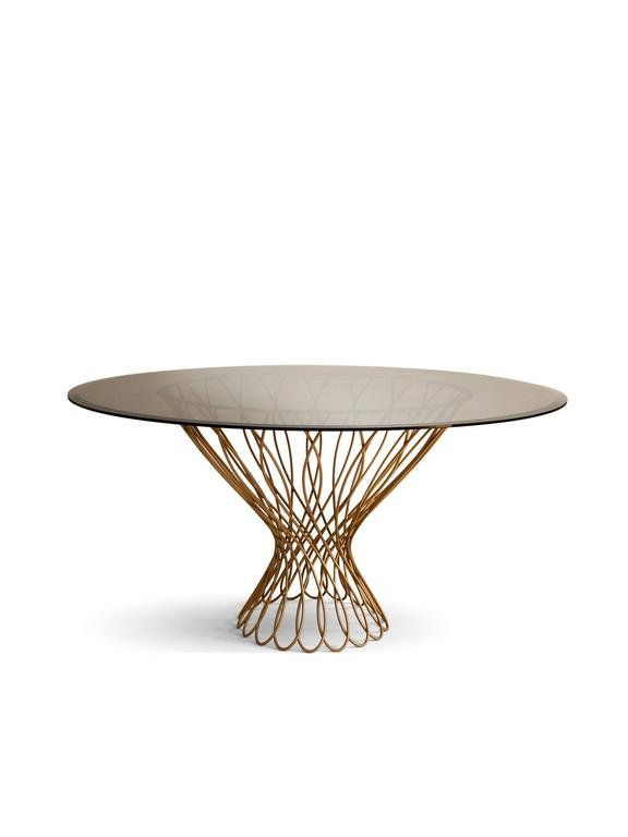European Modern Woven Iron And Bronze Glass Allure Round Dining Table By  Brabbu 2