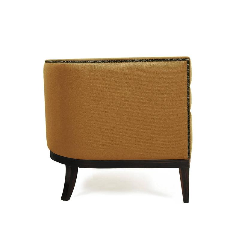Pair of European Modern Maa Twill and Gold and Wood Armchair by Brabbu 2