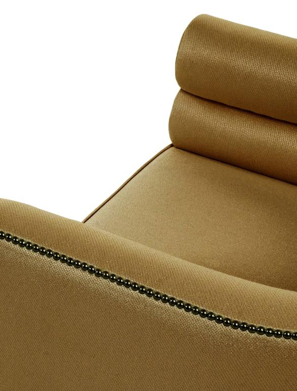 Pair of European Modern Maa Twill and Gold and Wood Armchair by Brabbu 3