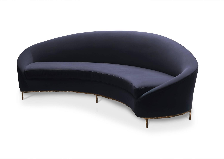 European Modern Velvet And Bronze Vamp Curvilinear Lounge