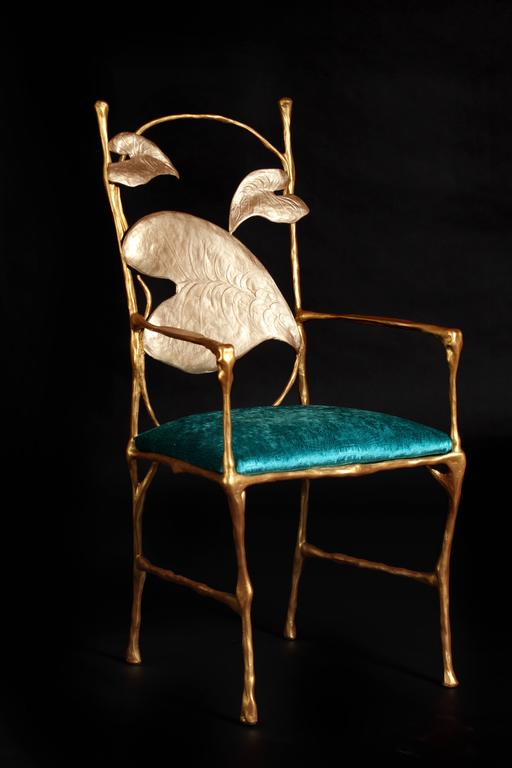 Contemporary Sculpted Elephant Dining Chair In Gold And Velvet Seat Cushion F
