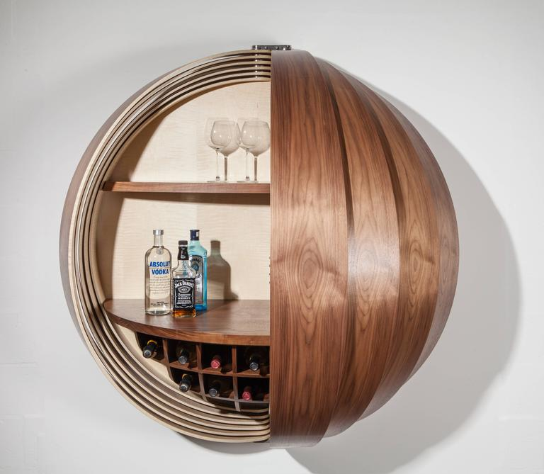 Contemporary Walnut Drinks Cabinet Or Dry Bar, Wall Mounted For Sale At  1stdibs
