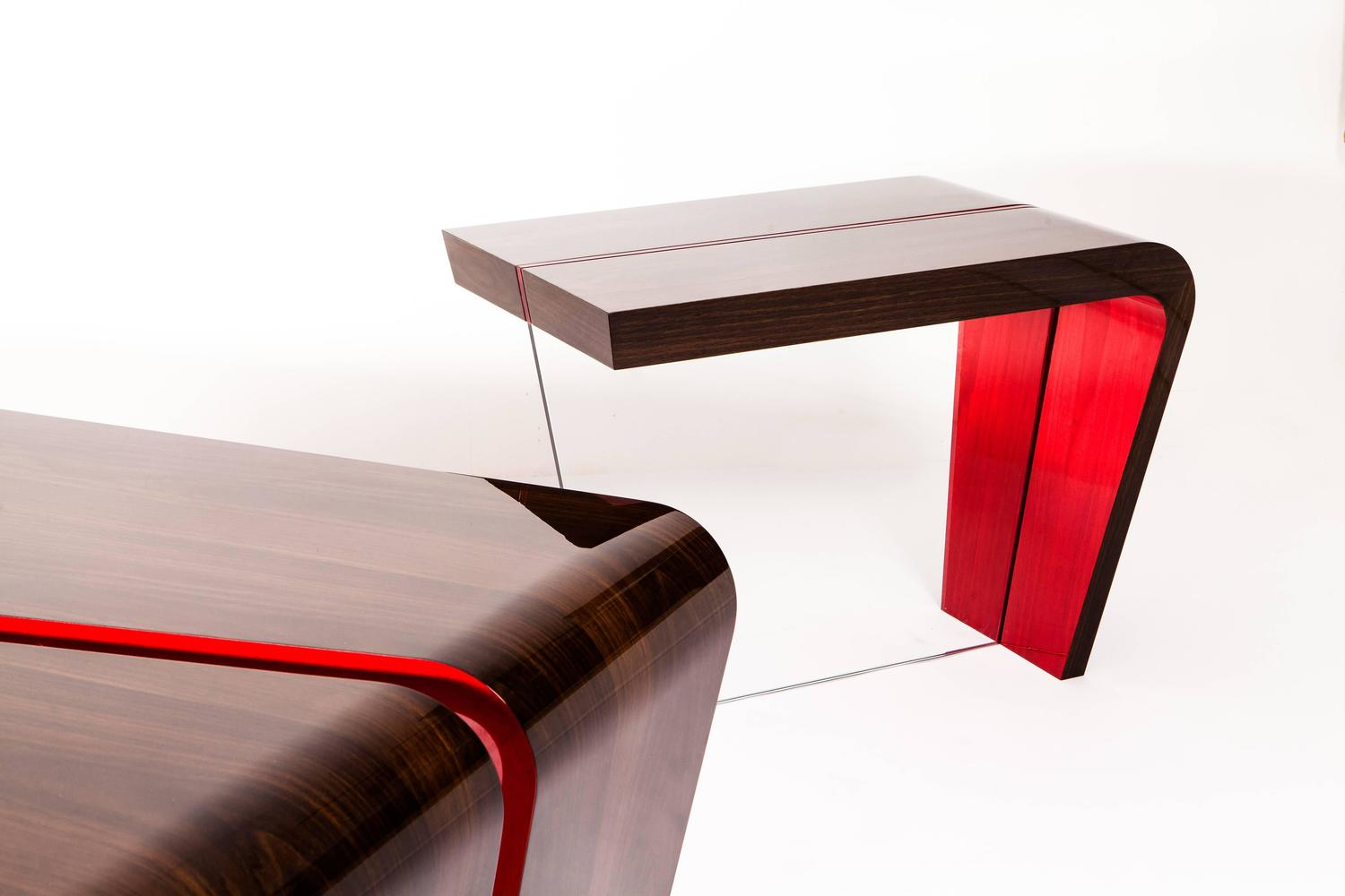 Contemporary Red and Lacquered Walnut End Table For Sale at 1stdibs