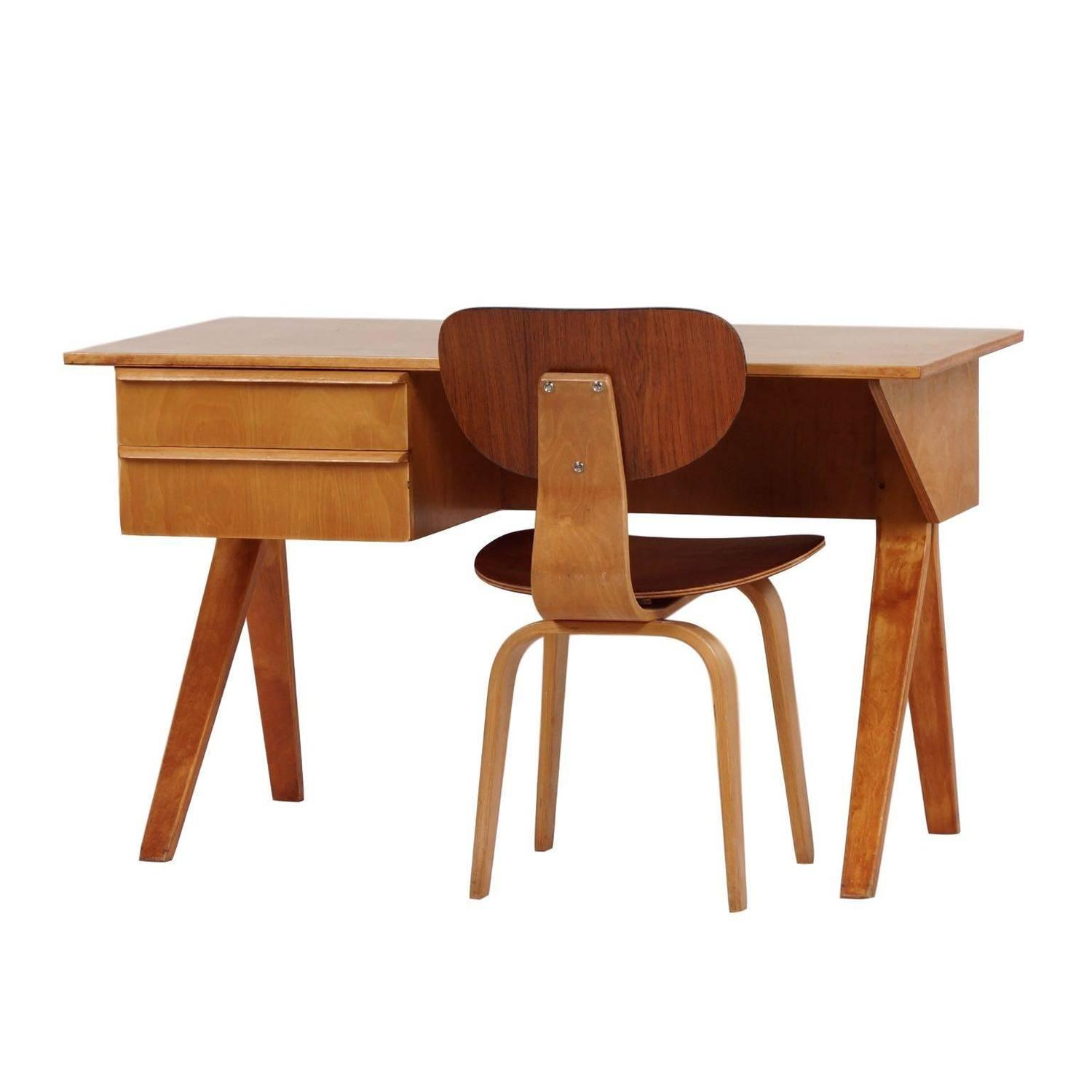 Amazing photo of Eb02 Desk Set Birch Series by Cees Braakman for Pastoe circa 1952 at  with #3F1509 color and 1500x1500 pixels