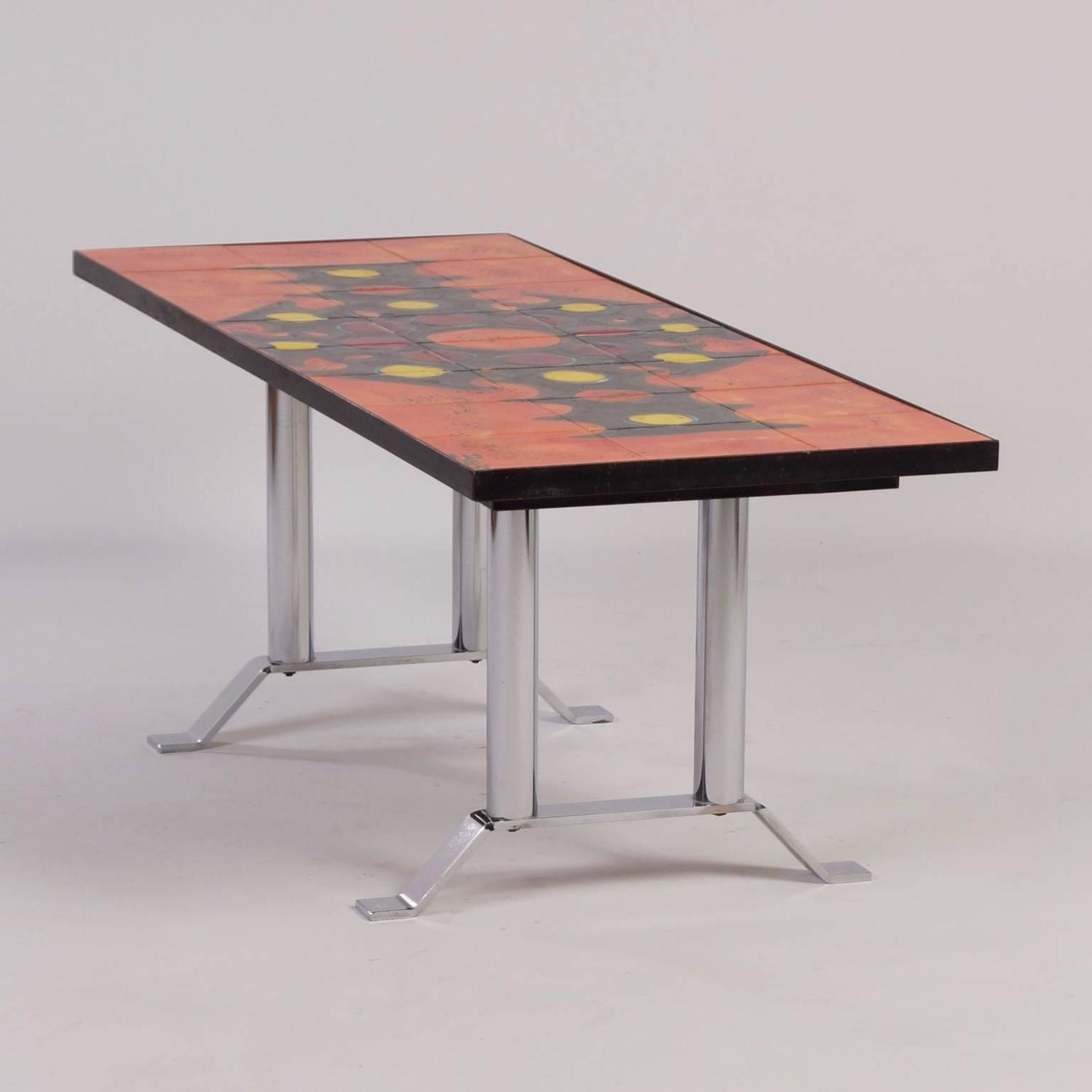 Hand Painted Tile Coffee Table By Belarti 1960s Orange