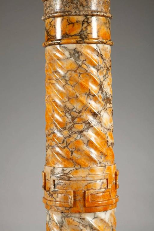 Two Spiraling Sienna Marble Columns For Sale 1