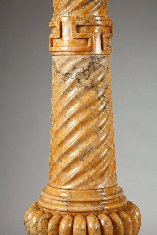 Two Spiraling Sienna Marble Columns For Sale 4